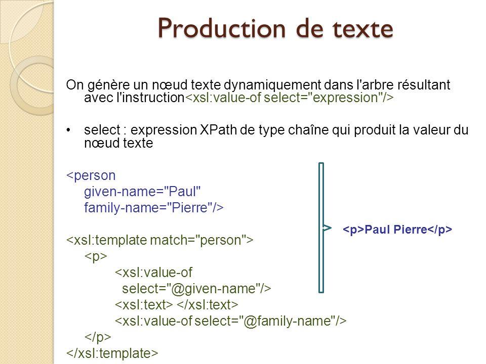 Production de texte On génère un nœud texte dynamiquement dans l'arbre résultant avec l'instruction select : expression XPath de type chaîne qui produ