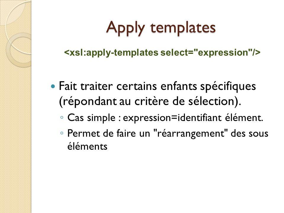 Apply templates Fait traiter certains enfants spécifiques (répondant au critère de sélection). Cas simple : expression=identifiant élément. Permet de