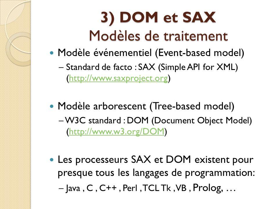 3) DOM et SAX Modèles de traitement Modèle événementiel (Event-based model) – Standard de facto : SAX (Simple API for XML) (http://www.saxproject.org)
