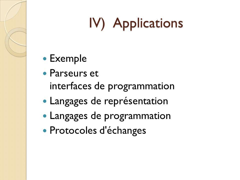 IV)Applications Exemple Parseurs et interfaces de programmation Langages de représentation Langages de programmation Protocoles d'échanges