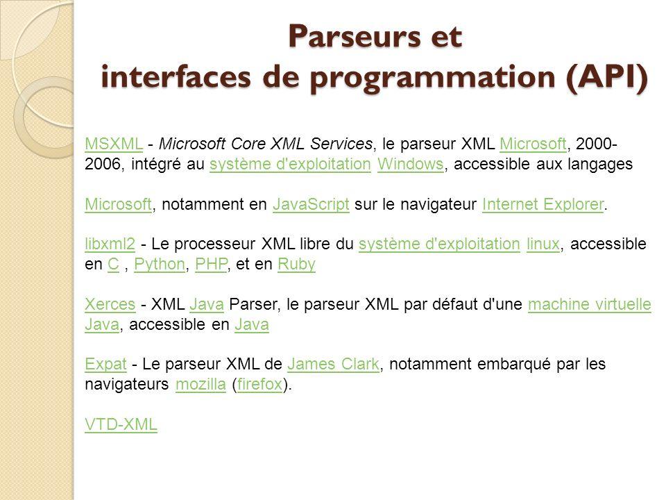 Parseurs et interfaces de programmation (API) MSXMLMSXML - Microsoft Core XML Services, le parseur XML Microsoft, 2000- 2006, intégré au système d'exp