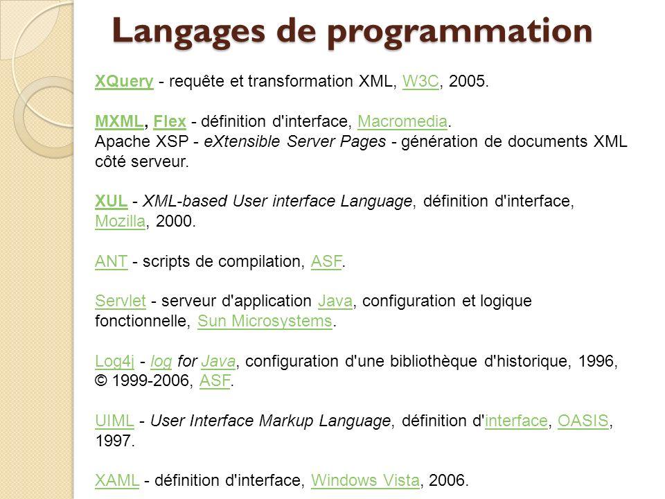 Langages de programmation XQueryXQuery - requête et transformation XML, W3C, 2005.W3C MXMLMXML, Flex - définition d'interface, Macromedia.FlexMacromed