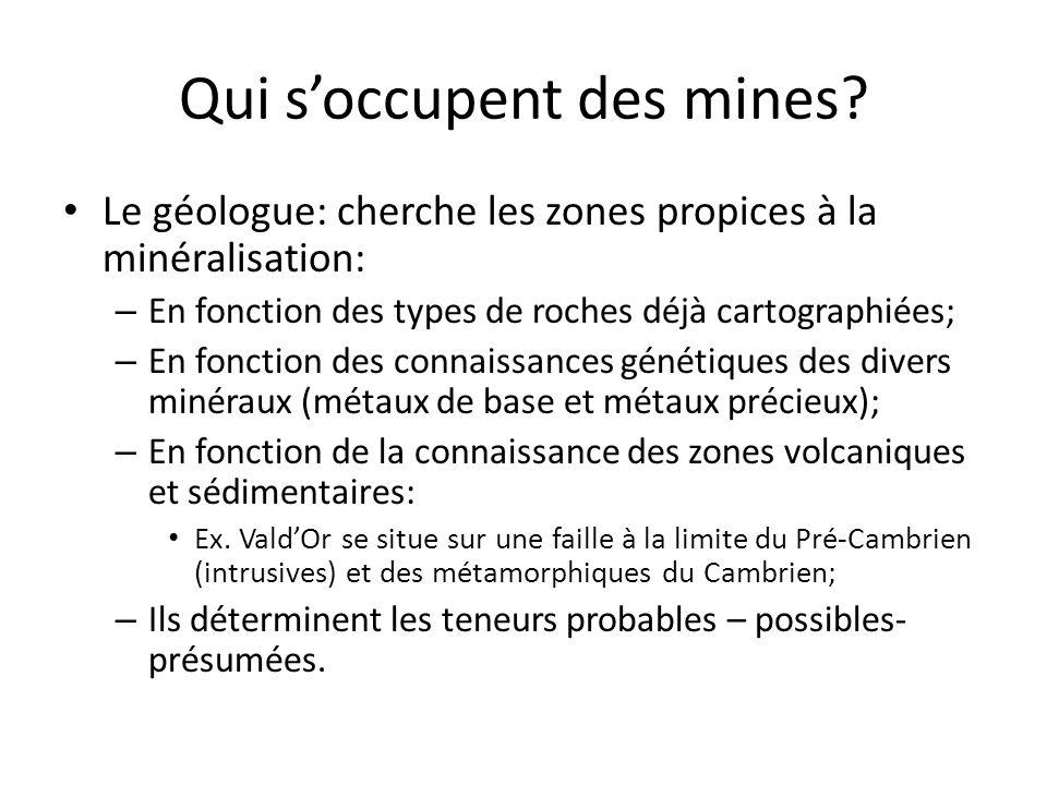 Qui soccupent des mines? Le géologue: cherche les zones propices à la minéralisation: – En fonction des types de roches déjà cartographiées; – En fonc