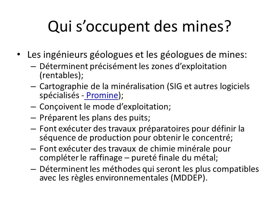 Qui soccupent des mines? Les ingénieurs géologues et les géologues de mines: – Déterminent précisément les zones dexploitation (rentables); – Cartogra