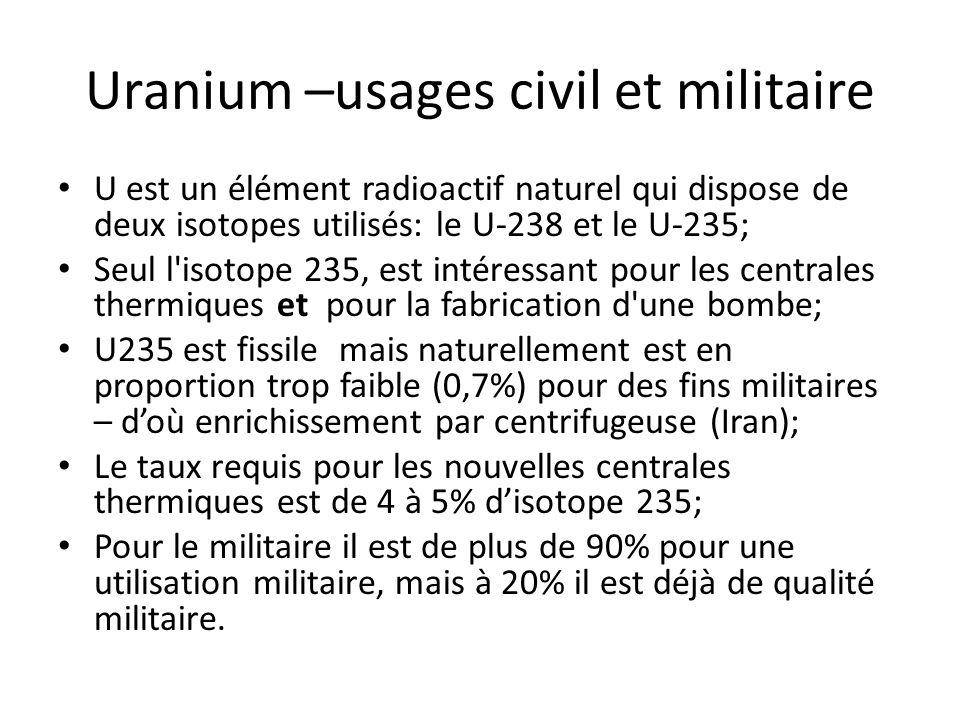 Uranium –usages civil et militaire U est un élément radioactif naturel qui dispose de deux isotopes utilisés: le U-238 et le U-235; Seul l'isotope 235