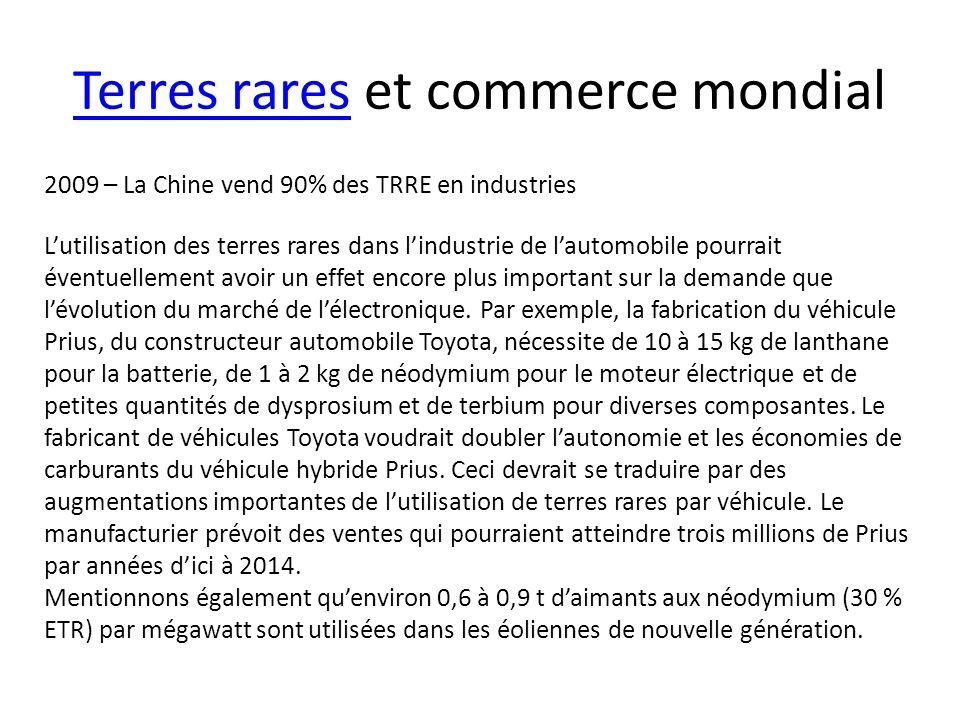 Terres raresTerres rares et commerce mondial 2009 – La Chine vend 90% des TRRE en industries Lutilisation des terres rares dans lindustrie de lautomob