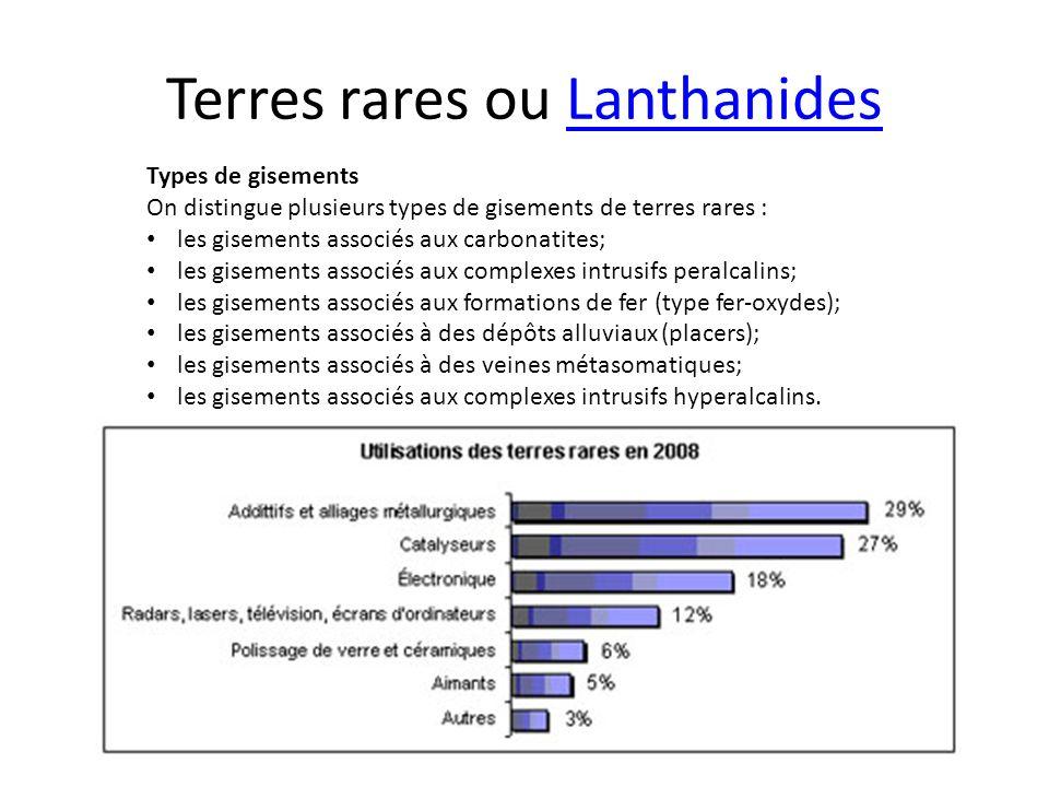Terres rares ou LanthanidesLanthanides Types de gisements On distingue plusieurs types de gisements de terres rares : les gisements associés aux carbo