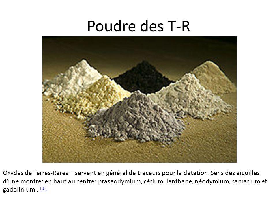 Poudre des T-R Oxydes de Terres-Rares – servent en général de traceurs pour la datation. Sens des aiguilles dune montre: en haut au centre: praséodymi