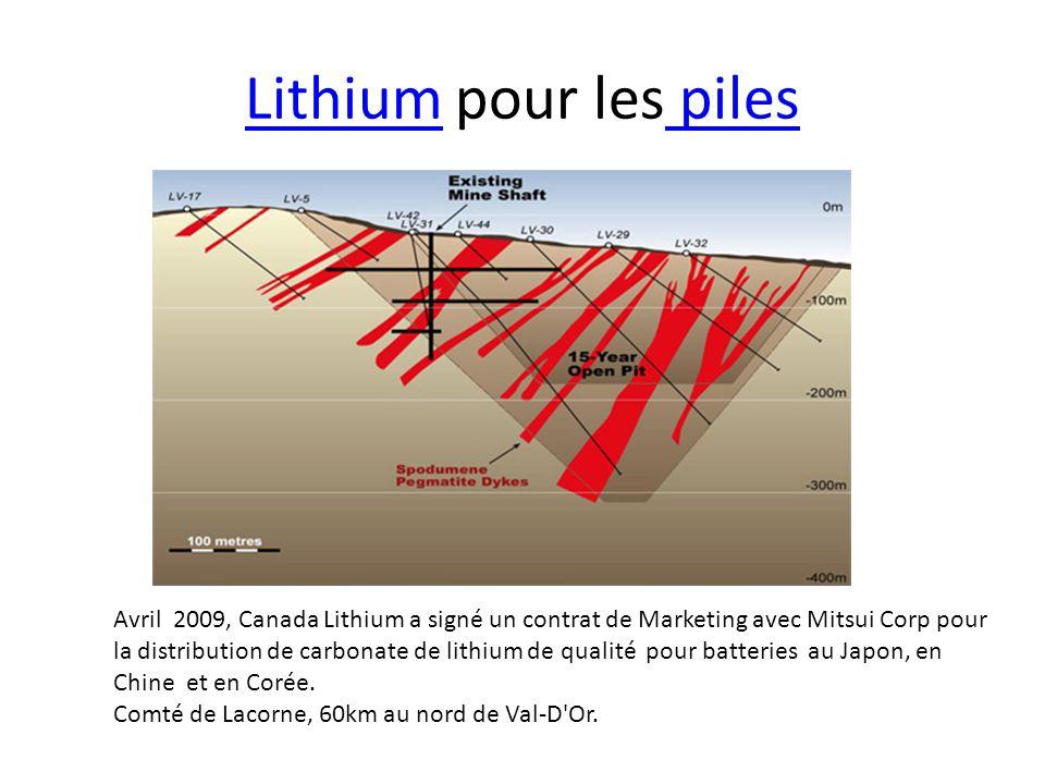 LithiumLithium pour les piles piles Avril 2009, Canada Lithium a signé un contrat de Marketing avec Mitsui Corp pour la distribution de carbonate de l