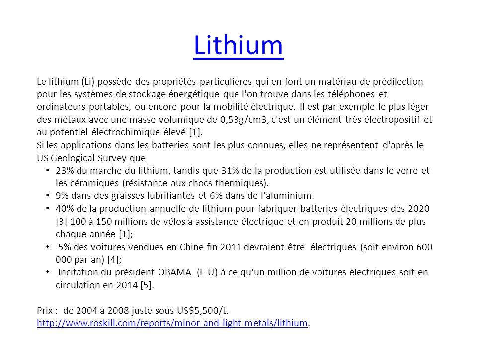 Lithium Le lithium (Li) possède des propriétés particulières qui en font un matériau de prédilection pour les systèmes de stockage énergétique que l'o