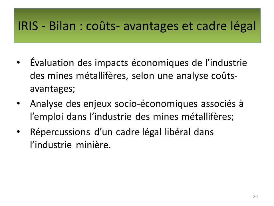 IRIS - Bilan : coûts- avantages et cadre légal Évaluation des impacts économiques de lindustrie des mines métallifères, selon une analyse coûts- avant