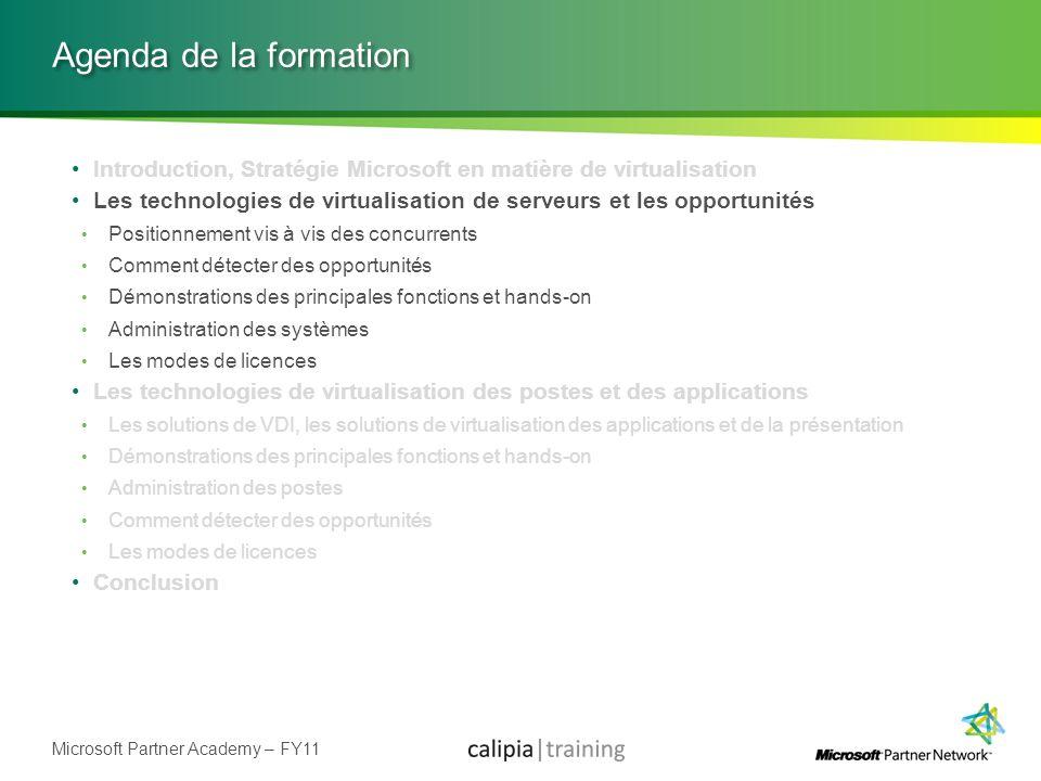 Microsoft Partner Academy – FY11 Agenda de la formation Introduction, Stratégie Microsoft en matière de virtualisation Les technologies de virtualisat