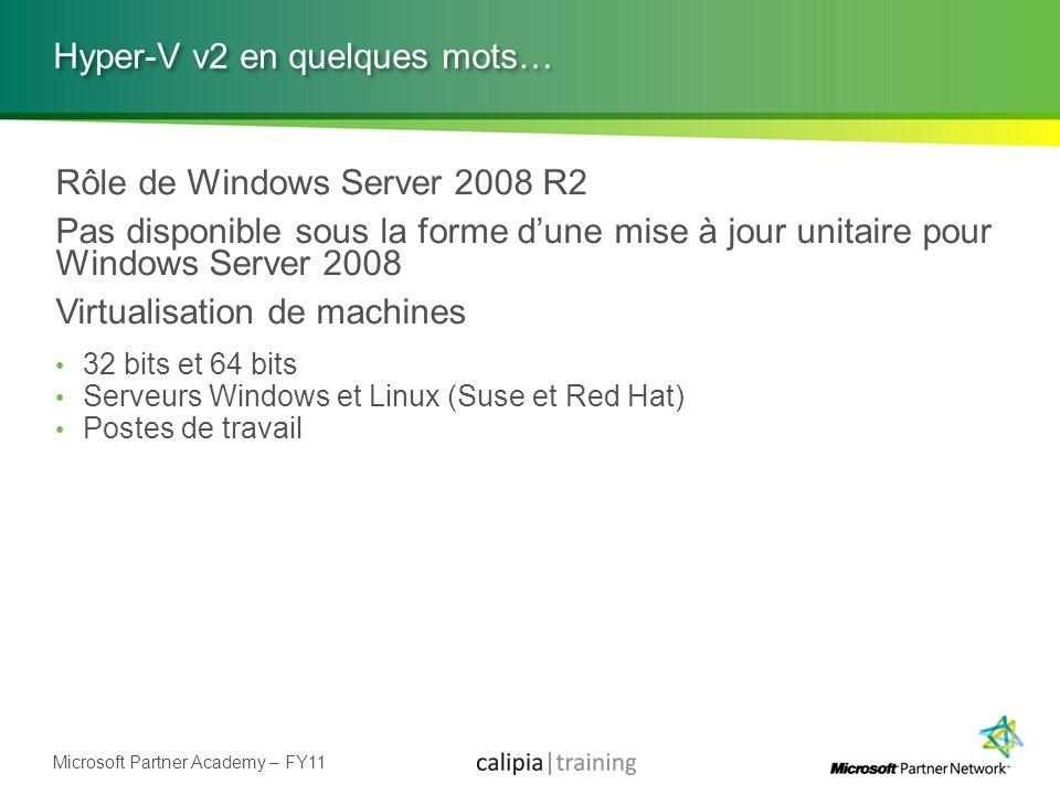 Microsoft Partner Academy – FY11 Hyper-V v2 en quelques mots… Rôle de Windows Server 2008 R2 Pas disponible sous la forme dune mise à jour unitaire po