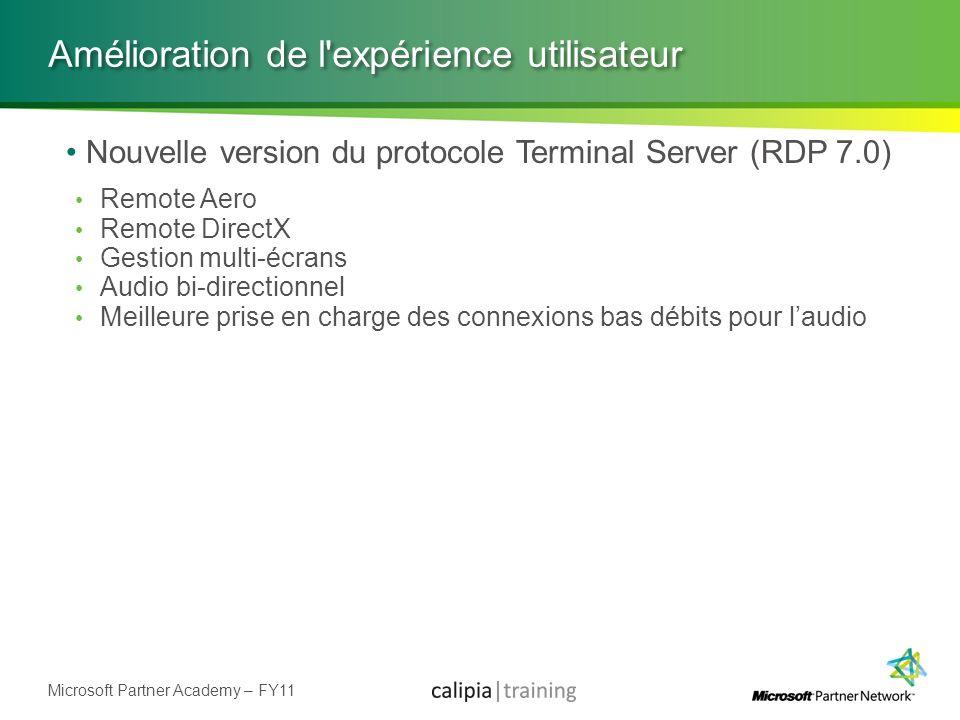 Microsoft Partner Academy – FY11 Amélioration de l'expérience utilisateur Nouvelle version du protocole Terminal Server (RDP 7.0) Remote Aero Remote D