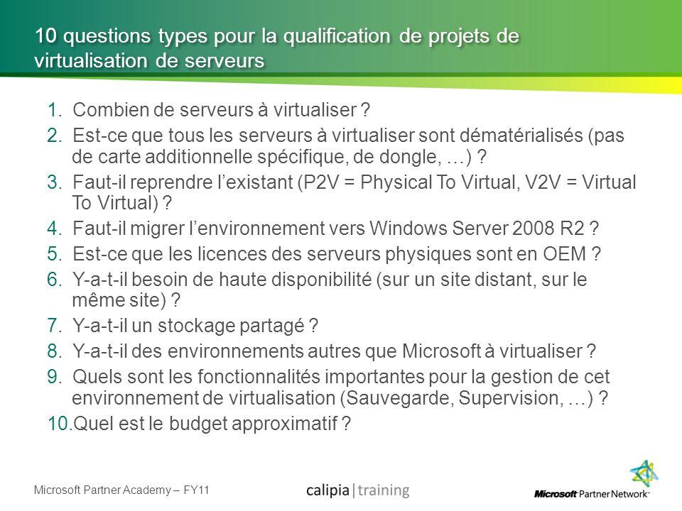 Microsoft Partner Academy – FY11 10 questions types pour la qualification de projets de virtualisation de serveurs 1.Combien de serveurs à virtualiser