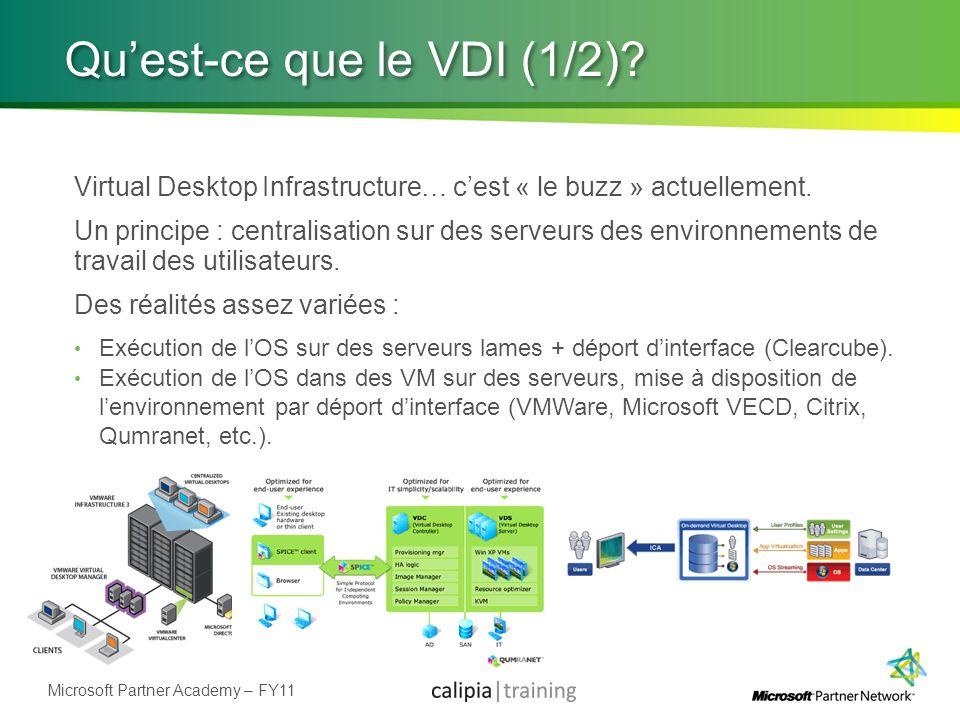 Microsoft Partner Academy – FY11 Quest-ce que le VDI (1/2)? Virtual Desktop Infrastructure… cest « le buzz » actuellement. Un principe : centralisatio