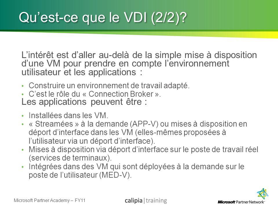Microsoft Partner Academy – FY11 Quest-ce que le VDI (2/2)? Lintérêt est daller au-delà de la simple mise à disposition dune VM pour prendre en compte