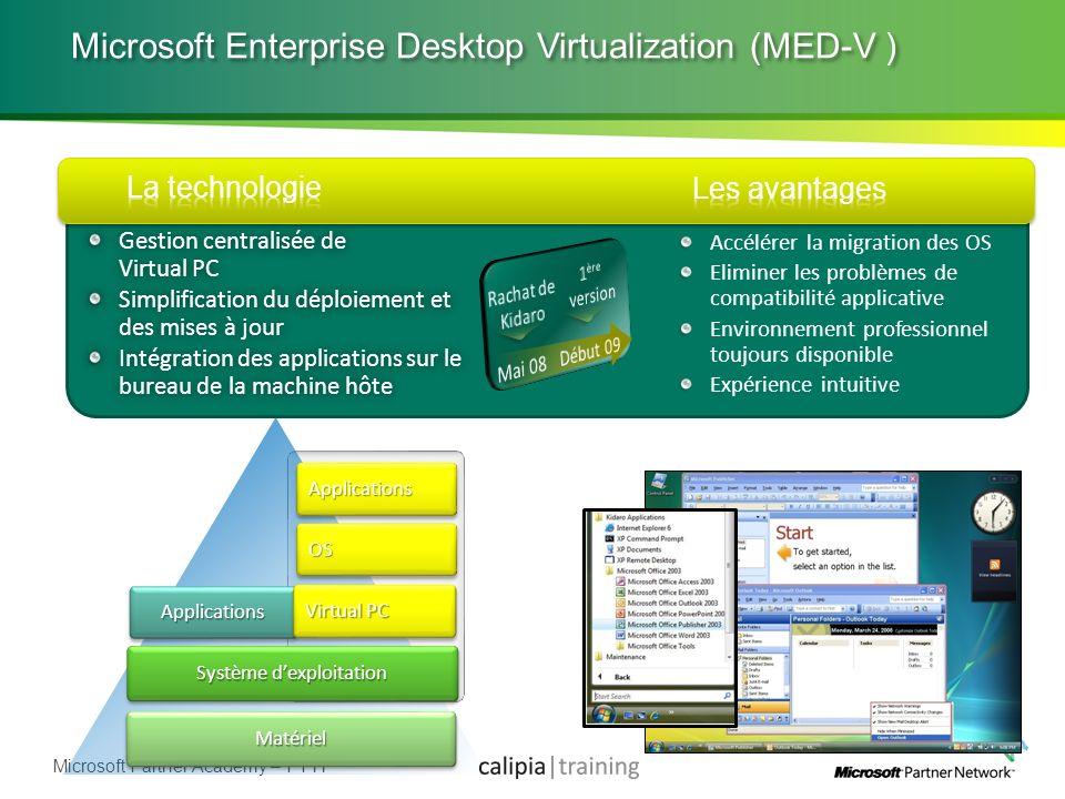 Microsoft Partner Academy – FY11 Microsoft Enterprise Desktop Virtualization (MED-V ) Gestion centralisée de Virtual PC Simplification du déploiement