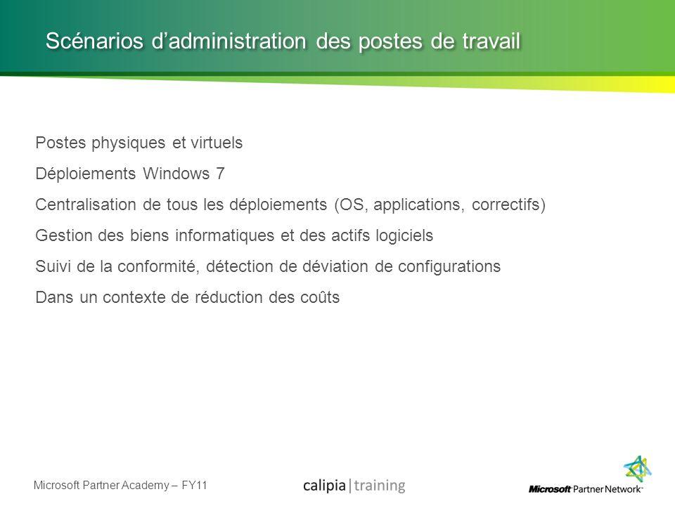 Microsoft Partner Academy – FY11 Scénarios dadministration des postes de travail Postes physiques et virtuels Déploiements Windows 7 Centralisation de
