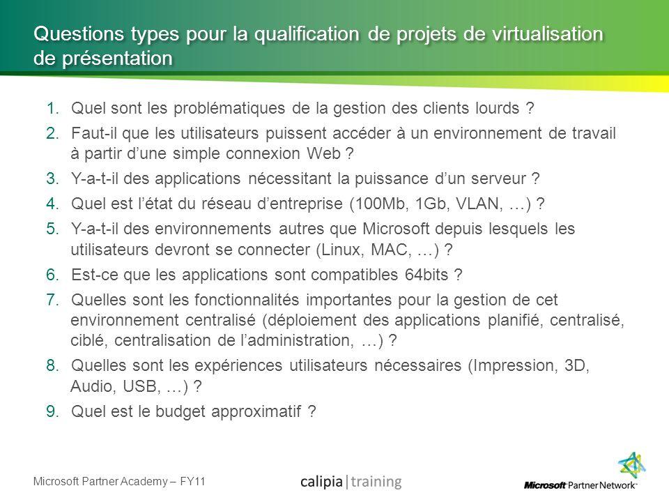 Microsoft Partner Academy – FY11 Questions types pour la qualification de projets de virtualisation de présentation 1.Quel sont les problématiques de