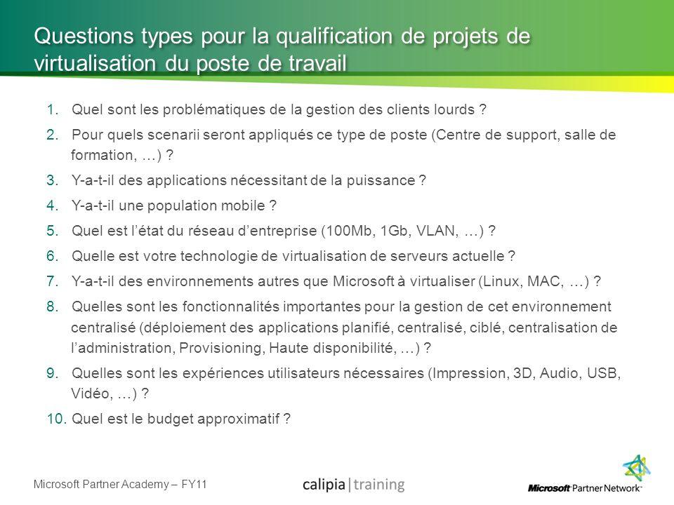 Microsoft Partner Academy – FY11 Questions types pour la qualification de projets de virtualisation du poste de travail 1.Quel sont les problématiques