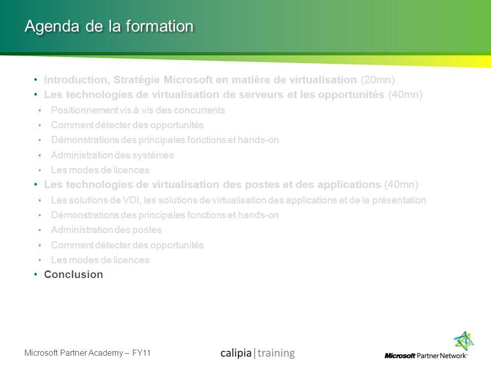 Microsoft Partner Academy – FY11 Agenda de la formation Introduction, Stratégie Microsoft en matière de virtualisation (20mn) Les technologies de virt