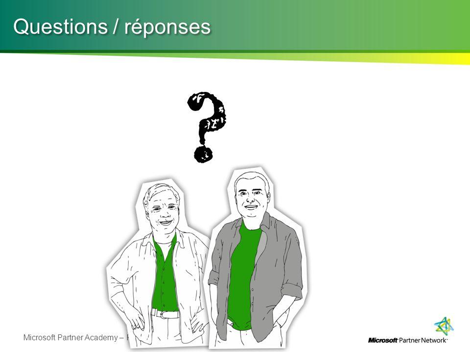 Microsoft Partner Academy – FY11 Questions / réponses