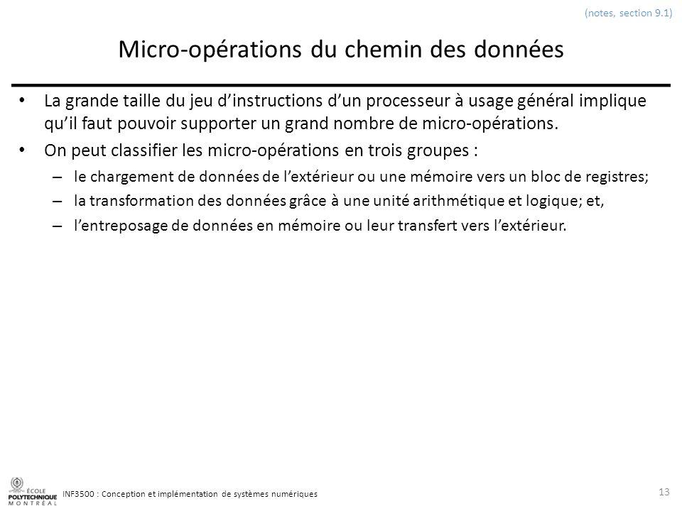 INF3500 : Conception et implémentation de systèmes numériques Micro-opérations du chemin des données La grande taille du jeu dinstructions dun process