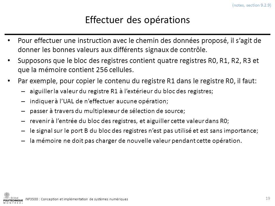 INF3500 : Conception et implémentation de systèmes numériques Effectuer des opérations Pour effectuer une instruction avec le chemin des données propo
