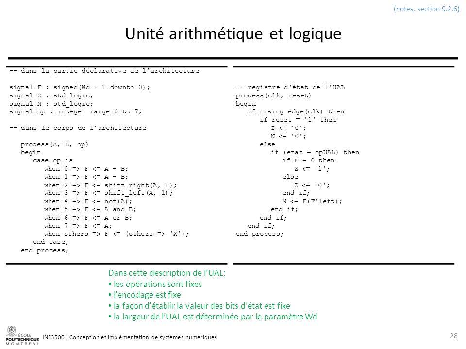 INF3500 : Conception et implémentation de systèmes numériques Unité arithmétique et logique 28 (notes, section 9.2.6) -- dans la partie déclarative de