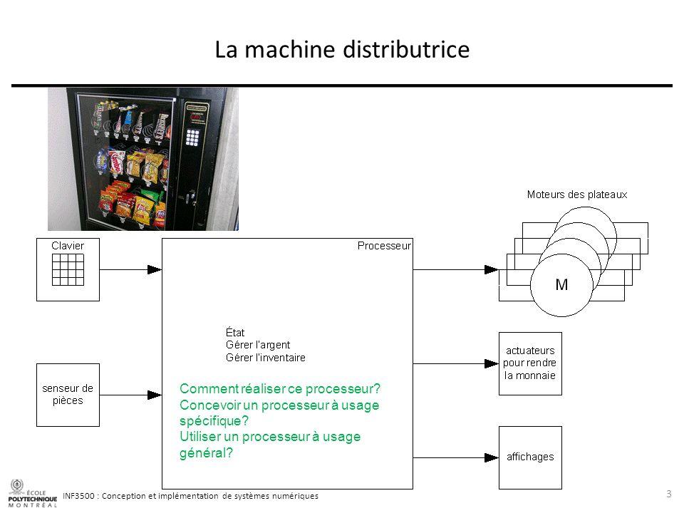 INF3500 : Conception et implémentation de systèmes numériques La machine distributrice 3 Comment réaliser ce processeur? Concevoir un processeur à usa