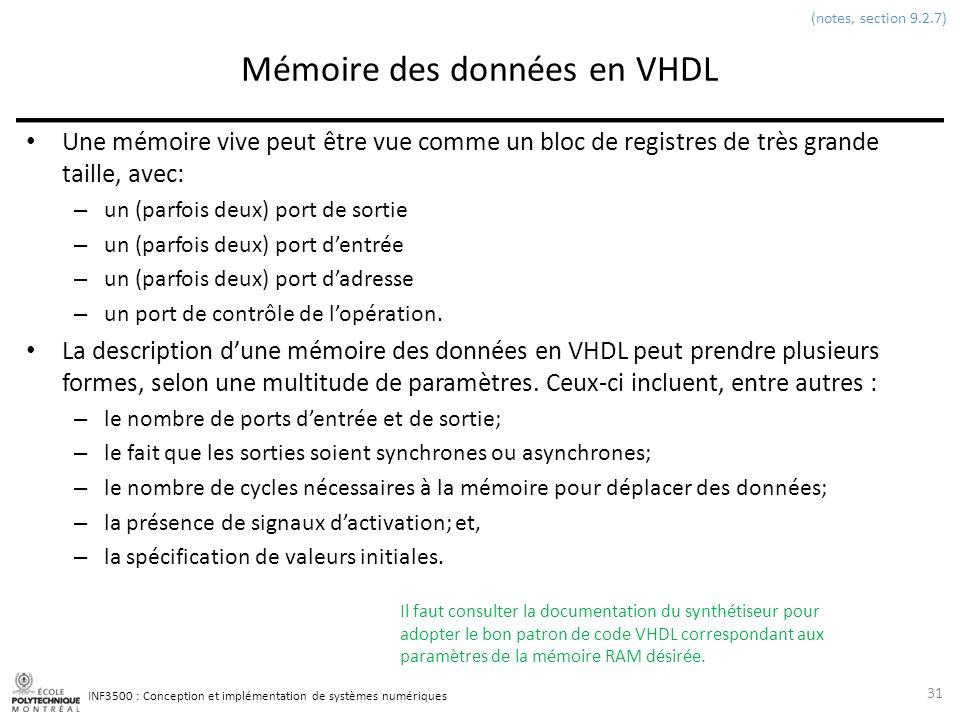 INF3500 : Conception et implémentation de systèmes numériques Mémoire des données en VHDL Une mémoire vive peut être vue comme un bloc de registres de
