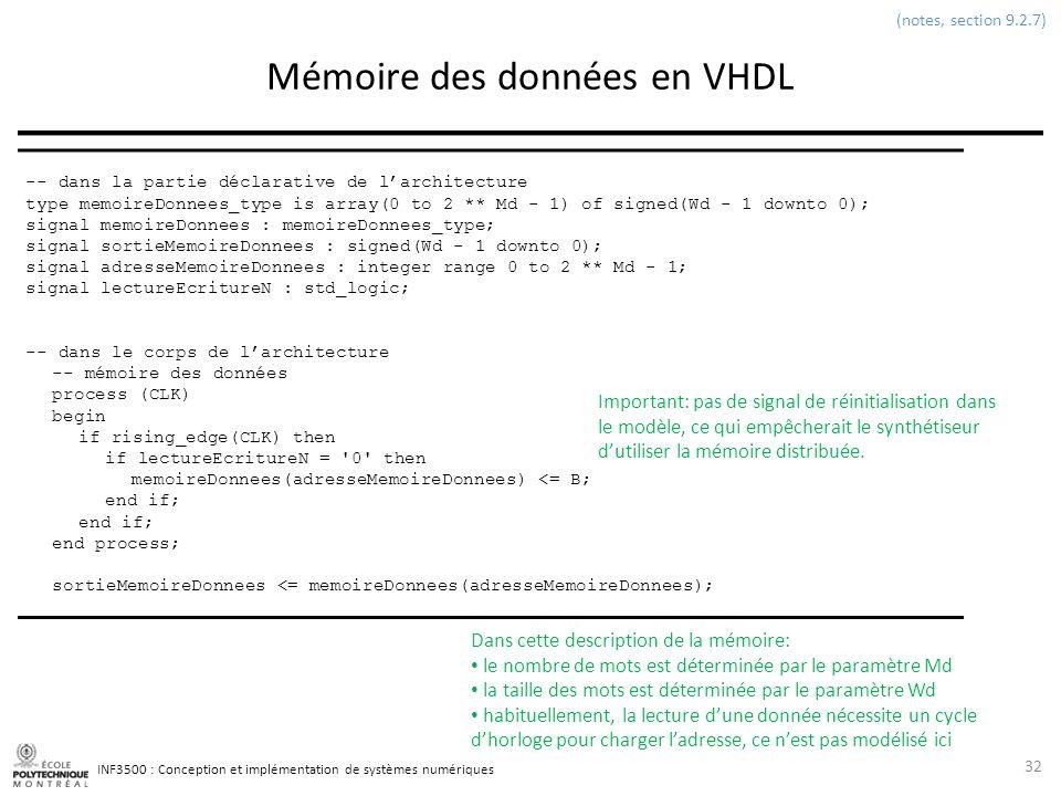 INF3500 : Conception et implémentation de systèmes numériques Mémoire des données en VHDL 32 (notes, section 9.2.7) -- dans la partie déclarative de l