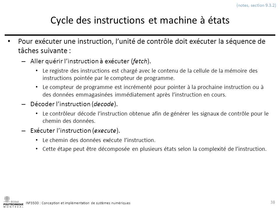 INF3500 : Conception et implémentation de systèmes numériques Cycle des instructions et machine à états Pour exécuter une instruction, lunité de contr