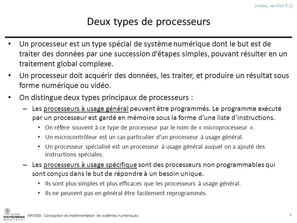 INF3500 : Conception et implémentation de systèmes numériques Parties dun processeur Un processeur est composé de deux parties: – Le chemin des données (datapath) traite les données.