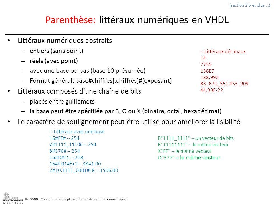 INF3500 : Conception et implémentation de systèmes numériques Parenthèse: littéraux numériques en VHDL Littéraux numériques abstraits – entiers (sans