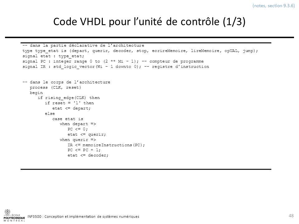 INF3500 : Conception et implémentation de systèmes numériques Code VHDL pour lunité de contrôle (1/3) 48 (notes, section 9.3.6) -- dans la partie décl