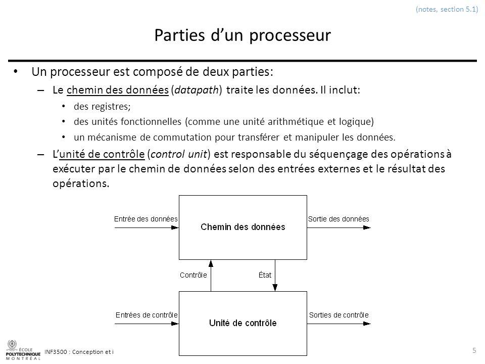 INF3500 : Conception et implémentation de systèmes numériques Éléments à mémoire pour chemins des données Bloc de registres 26 (notes, section 9.2.3) Un bloc de registre peut avoir plusieurs ports dentrée et de sortie.
