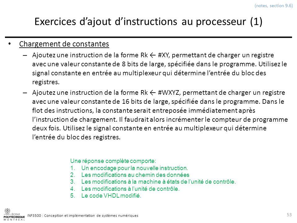 INF3500 : Conception et implémentation de systèmes numériques Exercices dajout dinstructions au processeur (1) Chargement de constantes – Ajoutez une