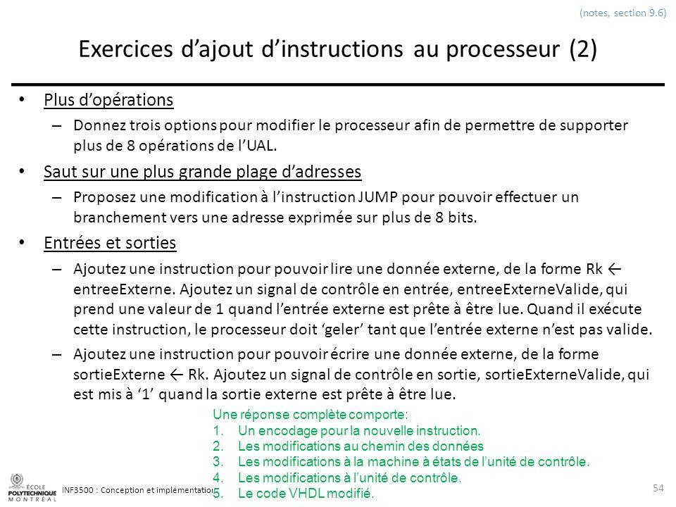 INF3500 : Conception et implémentation de systèmes numériques Exercices dajout dinstructions au processeur (2) Plus dopérations – Donnez trois options