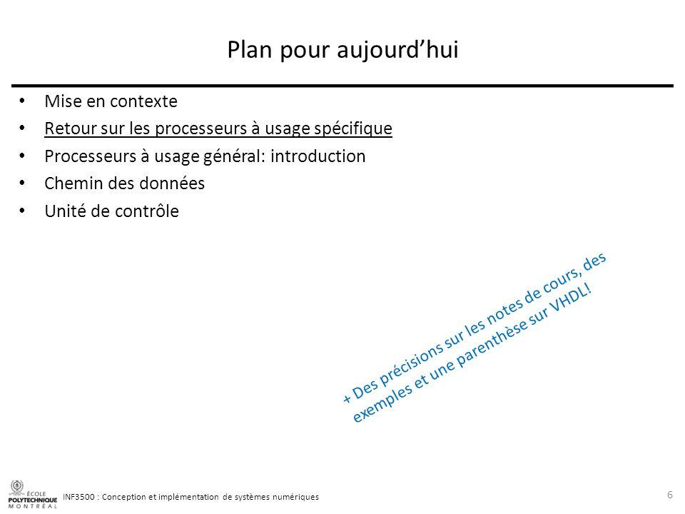 INF3500 : Conception et implémentation de systèmes numériques Choix dapproche pour lencodage des instructions Le code dune instruction doit permettre de spécifier sans ambiguïté tous les signaux de contrôle du chemin des données.