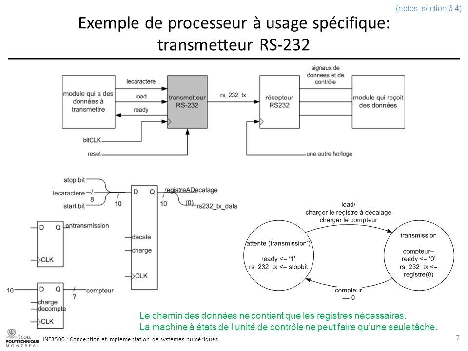 INF3500 : Conception et implémentation de systèmes numériques Unité arithmétique et logique 28 (notes, section 9.2.6) -- dans la partie déclarative de larchitecture signal F : signed(Wd - 1 downto 0); signal Z : std_logic; signal N : std_logic; signal op : integer range 0 to 7; -- dans le corps de larchitecture process(A, B, op) begin case op is when 0 => F <= A + B; when 1 => F <= A - B; when 2 => F <= shift_right(A, 1); when 3 => F <= shift_left(A, 1); when 4 => F <= not(A); when 5 => F <= A and B; when 6 => F <= A or B; when 7 => F <= A; when others => F X ); end case; end process; -- registre d état de l UAL process(clk, reset) begin if rising_edge(clk) then if reset = 1 then Z <= 0 ; N <= 0 ; else if (etat = opUAL) then if F = 0 then Z <= 1 ; else Z <= 0 ; end if; N <= F(F left); end if; end process; Dans cette description de lUAL: les opérations sont fixes lencodage est fixe la façon détablir la valeur des bits détat est fixe la largeur de lUAL est déterminée par le paramètre Wd