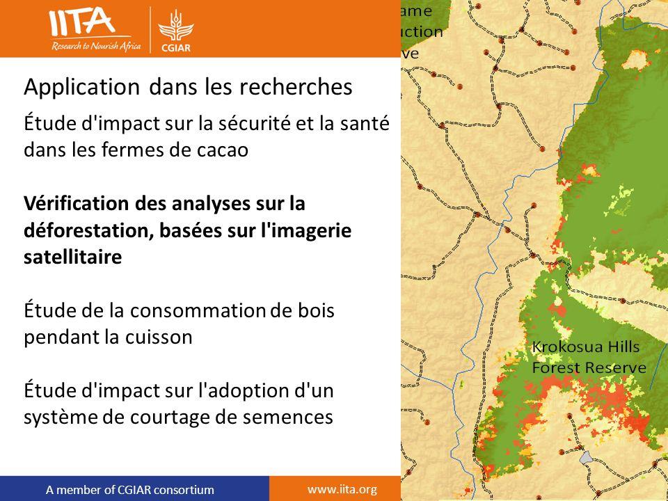 A member of CGIAR consortium Application dans les recherches Étude d'impact sur la sécurité et la santé dans les fermes de cacao Vérification des anal