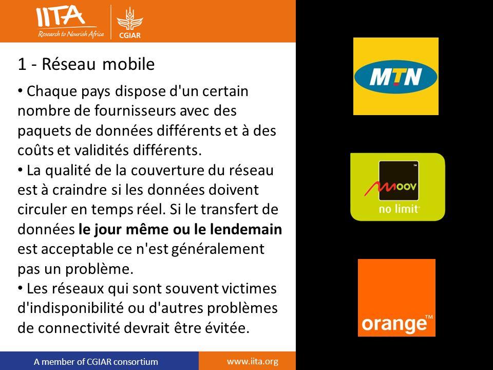 A member of CGIAR consortium 1 - Réseau mobile Chaque pays dispose d'un certain nombre de fournisseurs avec des paquets de données différents et à des