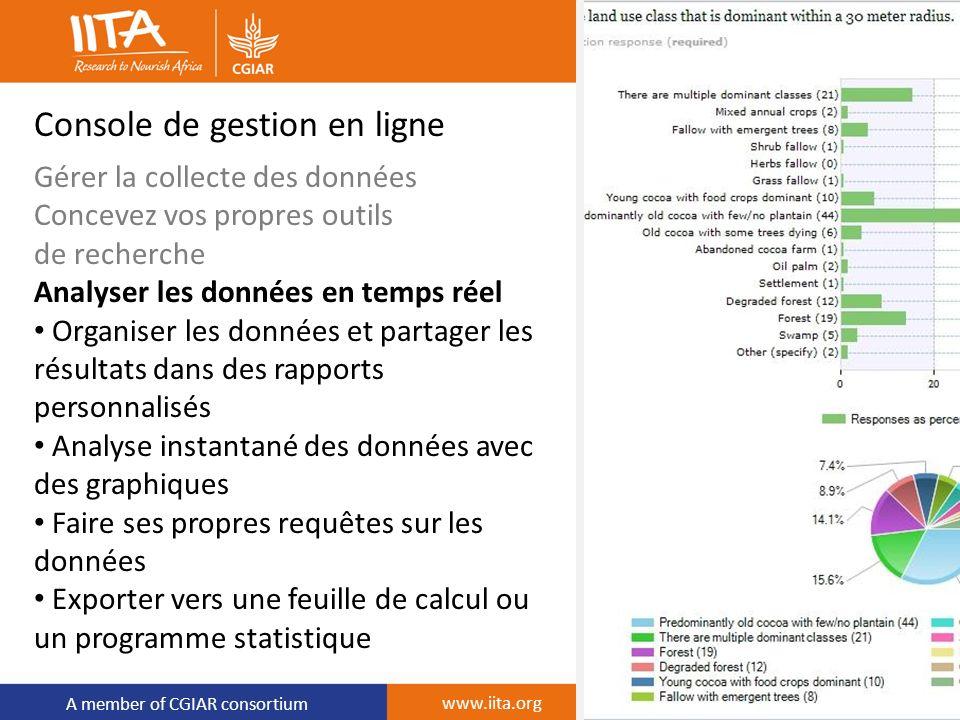 A member of CGIAR consortium Console de gestion en ligne Gérer la collecte des données Concevez vos propres outils de recherche Analyser les données e