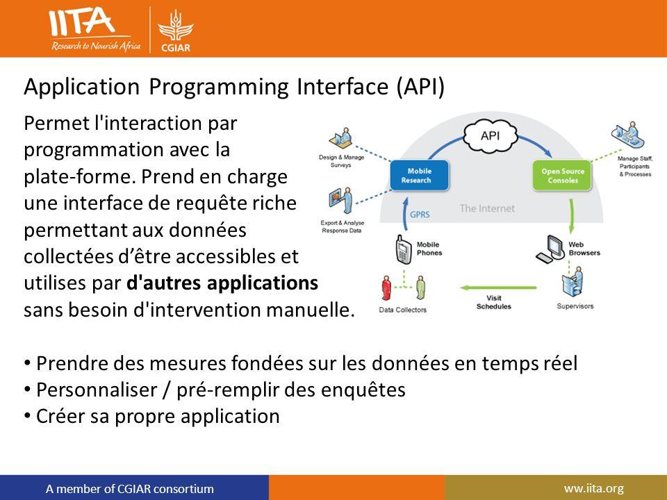 A member of CGIAR consortium Application Programming Interface (API) Permet l'interaction par programmation avec la plate-forme. Prend en charge une i