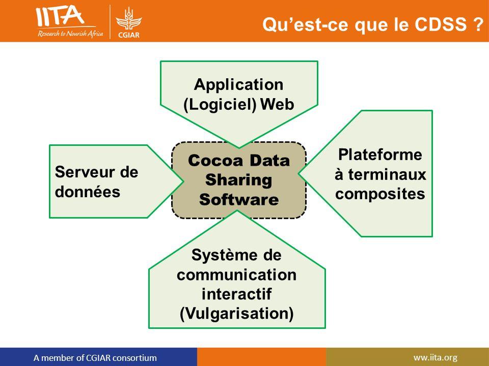 A member of CGIAR consortium ww.iita.org Cocoa Data Sharing Software Serveur de données Application (Logiciel) Web Plateforme à terminaux composites S
