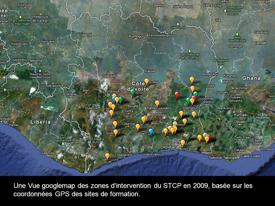 Eg.: Une Vue googlemap des zones dintervention du STCP en 2009, basée sur les coordonnées GPS des sites de formation.