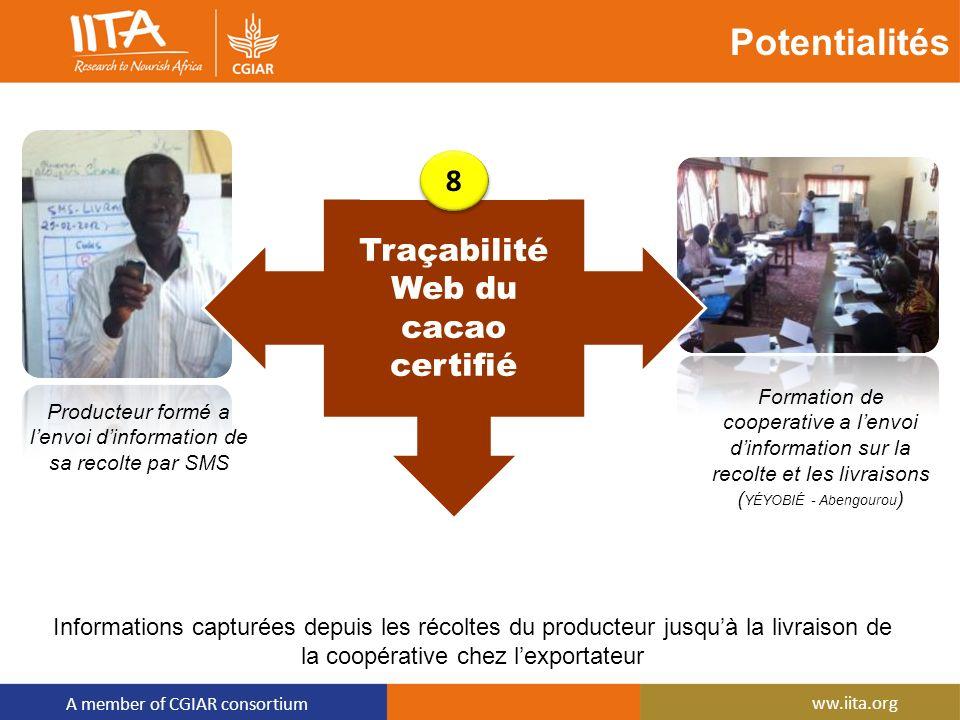 A member of CGIAR consortium ww.iita.org Potentialités Informations capturées depuis les récoltes du producteur jusquà la livraison de la coopérative