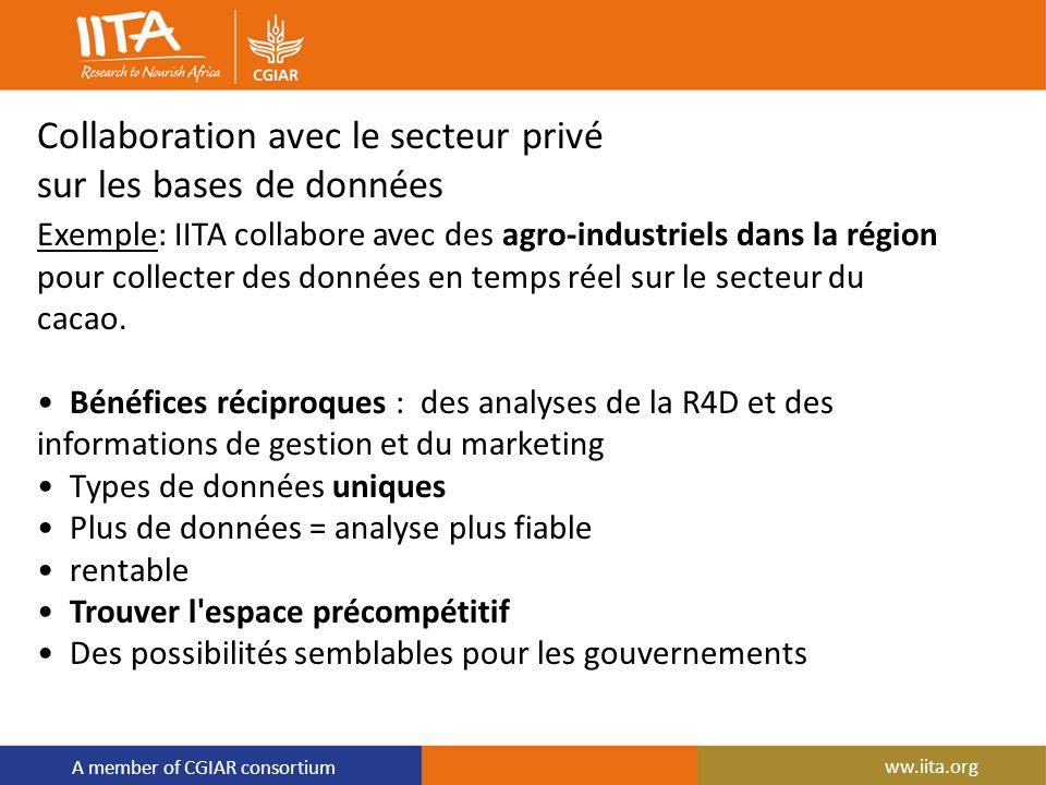 A member of CGIAR consortium Collaboration avec le secteur privé sur les bases de données Exemple: IITA collabore avec des agro-industriels dans la ré